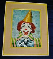 "Oil on Canvas Painting of a Clown, Signed ROLDAN, Framed 18"" x 22"" Art"