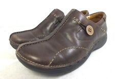 Clarks Un-Structured Brown Leather Ladies Slip-On Comfort Shoes US 6 GREAT