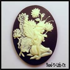 1pcs 30x40mm Resin Cameo Fairy Siting with Flower Victorian gothic cabochon DI