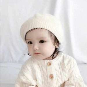 Autumn Winter Toddler Pure color Girl Bonnet Baby Hat Berets Hat Knitted Cap