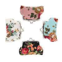 Mini Clutch Wallet Printed Flower Coin Purse Kiss-lock Wallet for Women Girl