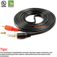 2M/5M Gold Stereo 3.5mm Male Mini to 2-RCA Male Audio Y-Cable iPod Compatible