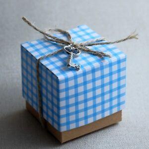 24st Taufgeschenk Gastgeschenk Baby Taufe Box Schachtel (Blau - Schlüssel)