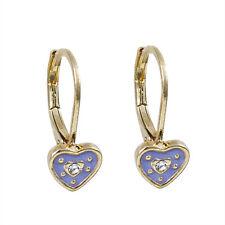 Gold Plated Lavender Enamel Heart CZs Baby Kids Girls Teens Leverback Earrings