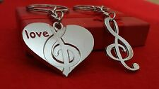 Musical Heart Treble Metal keyring  gift for her,him,anniversary, Birthday+Pouch
