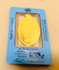 1/2 oz Fortuna Oval-Shaped Pamp Suisse Pure Gold Pendant Cer. # 098246