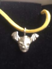 """Skull Bat TG329A Made In Fine English Pewter On 18"""" Yellow Cord Necklace"""