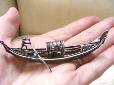 "Vintage Filigree Miniature Gondola 800 Silver 3 1/2"" Long"