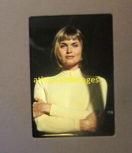 35mm Slide Photo Sexy Blonde Hair Woman In Tight Shirt Top Lipstick Makeup JG849