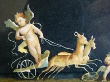 "Antique Classic CHERUBS PUTTI FRIEZE, Framed Gouache Watercolor 20"" Print, ITALY"