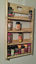 HANDMADE WOODEN RUSTIC SPICE RACK  4 TIER  - STORAGE - WALL - SHELVING - KITCHEN