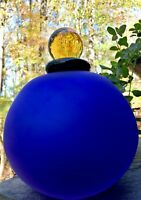 Vintage Satin Art Glass Cobalt Blue Perfume Bottle Decanter w/ Amber Dauber