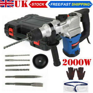 2000W Electric Hammer Drill Demolition Rotary Chuck SDS Plus Bit Set 2 Chisels U