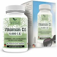 Vitamin D3 5000 I.E. Wochendepot 90 Kapseln  Premium Qualität Vegetarier geeigne