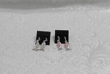 CLEAR & PINK RHINESTONE RELIGIOUS FISH CHARM EARRINGS - MOVEABLE - LOT OF 2