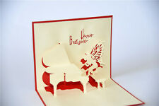 Handmade 3D Pop Up Happy Birthday Piano Angel Card