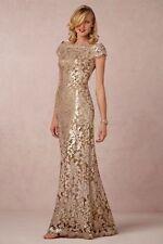 Tadashi Shoji Metallic Gold Gown Size 8