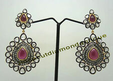 & Silver 925 Polki Ruby Dangle Earrings Art Deco Antique Rose Cut Diamond 4.82ct