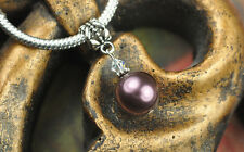 Burgundy Crystal Pearl Dangle Charm Bead European Style w Swarovski Elements