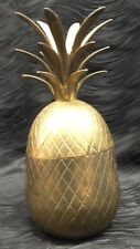 """Vintage 10"""" Tall Brass Pineapple Lidded Trinket Box Jewelry Decor Canister"""