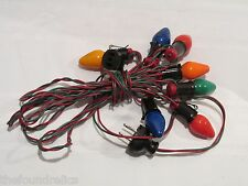 VINTAGE C7 CHRISTMAS STRAND 7 LIGHTS RED & GREEN WIRE - WORKS
