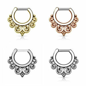 316 Steel Hinged Clicker Septum Nose Ring Hoop Body Piercing Jewelry Hinged Bar