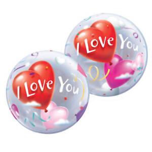 "I Love You Balloon  22""  Hearts Love Bubbles Qualatex Round"