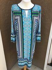New $139 Rare Chico's Bordered Tile Print Dress 2 = L Large 12 14 NWT Blue Multi