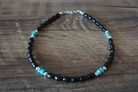 Navajo Hand Strung Black Onyx and Turquoise Beaded Anklet by D. Jake