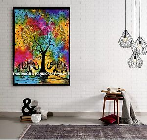Indien Tie Dye Elephant Tree Of Life Wall Hanging Large Hippie Bohemian Tapestry