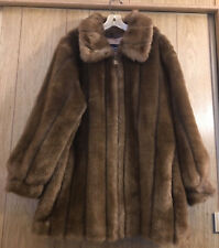 Woman's Brown 1XL Dennis Basso Fax Fur Coat Made In USA Worn Once