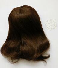 Puppenperücke Human Hair handgeknüpft Langhaar mit Pony braun KU 25-27-NEU