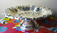 """Large COMPOTE PEDESTAL SILVER-COLORED METAL BOWL 13""""diam x 5""""tall"""