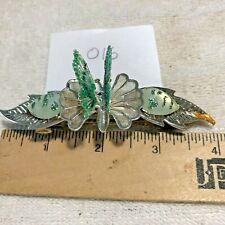 BT1J-015 Vintage Barette Butterfly Leaves Wings Move Jewelry