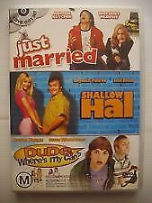 JUST MARRIED / SHALLOW HAL / DUDE WHERE'S MY CAR ? DVD 3-Disc Set LIKE NEW COND