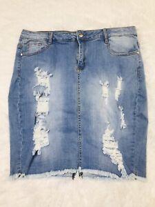 Fashion Nova Womens Size US 34 Jean Denim Distressed Skirt