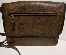 Vintage Paisley Relic Purse Embossed Tooled Brown Leather Adjustable Crossbody