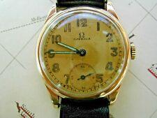 1940 9K GOLD OMEGA GENTLEMAN'S, GOOD, SERVICED CONDITION.  WW2 WATCH.
