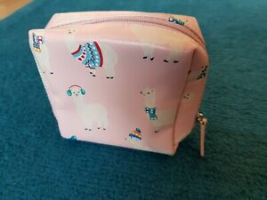 "CATH KIDSTON Alpaca Llama BABY PINK Zip-Up Purse 5"" Mini MAKE-UP Bag Clutch CUTE"