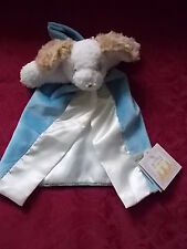 Bunnies By The Bay Lovey Dog Puppy White & Brown Blue & Satin Blanket Tagged