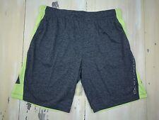 CALVIN CLEIN PERFORMANCE - CK Mens Gray & Lime Green Gym Basketball Shorts, XL