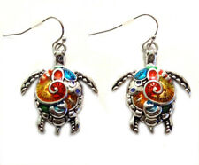 Silver Tone Sea Turtle Earrings Sea Life Silver Plated Fast Shipping