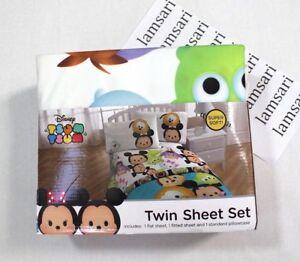 Disney Tsum Tsum 3-Piece Bed Sheet Set Size Twin White