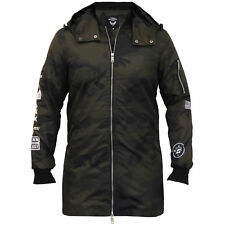 Mens Camouflage Long Jacket Brave Soul Hooded Mac Trench Coat Military MA1 Lined