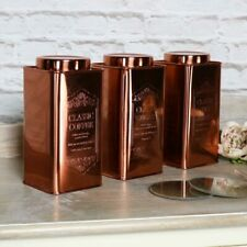 Copper metal tea coffee sugar storage container cannisters kitchen accessories