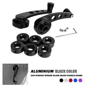Pair Black Car Window Winder Glass Crank Handle Aluminium Knobs Metal Universal