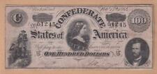 GENUINE 1863 CONFEDERATE STATES $100 BANKNOTE, RICHMOND USA  Z27