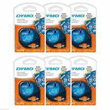 6PK Dymo 91335 Letra Tag BLUE Plastic Label Refill Tapes LetraTag LT XR QX50 NEW