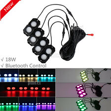 RGB LED Rock Lights 4 Pods Mobile Phone Bluetooth Control for Jeep Truck ATV SUV