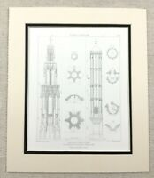 1874 Antique Print Gothic Tower Rouen Normandy France Architectural Detail